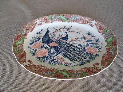 "Large Meat Serving Platter Peacock & Fruits Design   18.25"" By 13.25"""