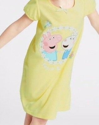 Girls Ex Marks And Spencer M&S Peppa Pig Short Sleeve Nightie Nightdress NEW