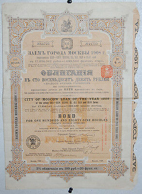24. A City Of Moscow Russia Loan Of The Year 1908 / 189 Roubles 20Lbs Sterling