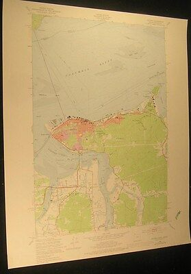 Astoria Oregon Navy Heights Youngs Bay 1978 vintage USGS original Topo chart map