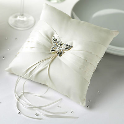 WEDDING RING BEARER CUSHION PILLOW Ivory Butterfly Diamante Satin Square