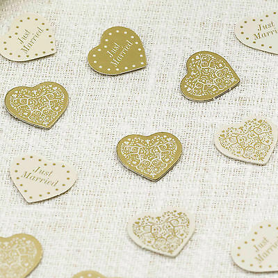 VINTAGE ROMANCE HEARTS WEDDING CONFETTI Ivory Gold 14g 1 Pack Decoration Card
