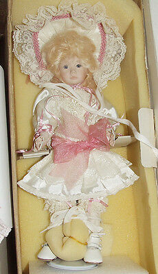 """New Janis Berard 14"""" Anne Antique Reproduction French Mohair Wig Glass Eyes Doll"""