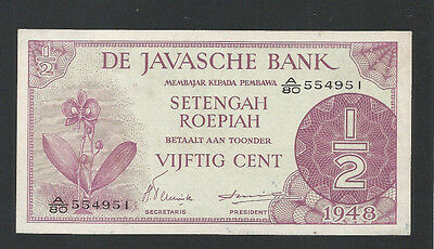 Netherlands Indies, Javasche Bank 1948 P-97 UNC 50 Cents