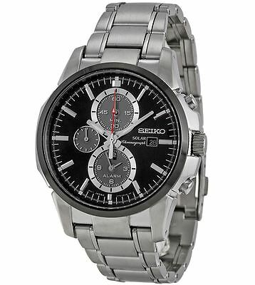Seiko Solar Chronograph SSC087 Black Dial Stainless Steel Band Men's Watch