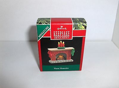 Warm Memories`1990`Miniature-Little Fireplace,Hallmark Christmas Ornament- New