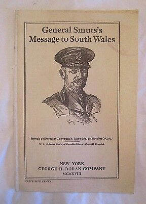 RARE Original 1918 GENERAL SMUT'S MESSAGE to SOUTH WALES Motivational Leaflet *