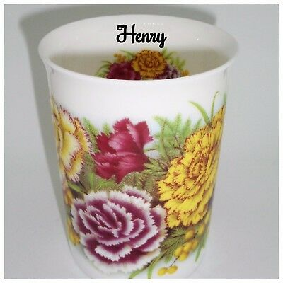 BN Boxed Personalised Vintage Floral Carnation Fine Bone China Mug, Named Mug
