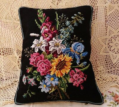 "18"" Daisy Lily Lavender Rose Floral Black Needlepoint Pillow Cushion Cover"