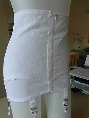 Romance High Waist Powernet Retro Style Girdle 6 Suspenders White On Sale Was£26