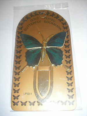 Butterfly bookmark (Gold Plated) Green Design 9cm x 6cm