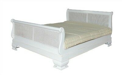 6' Super King Size Rattan Sleigh Bed Antique White Solid Mahogany & Rattan B012P
