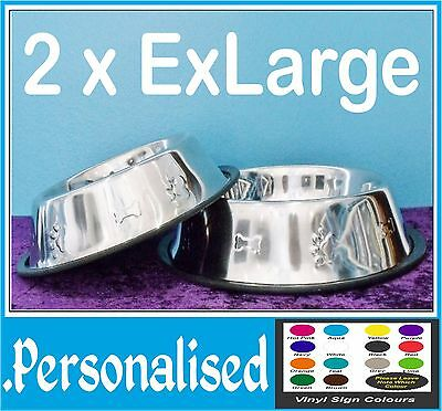2 x Extra Large Personalised Dog Bowl - Stainless Steel Embossed - Non Slip