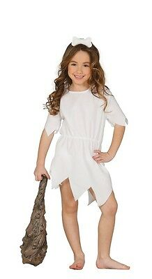 Girls White Cavegirl 1960s Cartoon Halloween Fancy Dress Costume Outfit 3-12 yrs