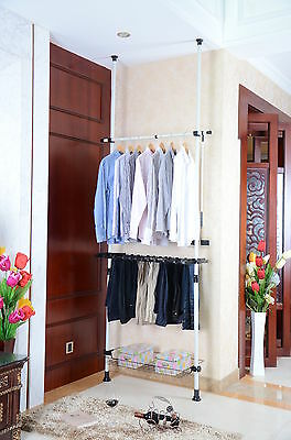 Telescopic White Walk In Wardrobe Clothes Shoe Hanger Storage Space Rail  Ls108A