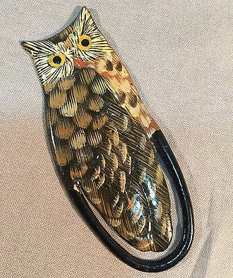 Owl Bookmark Hand Painted Book Marker Plastic LACQUER Stationery Index Clip
