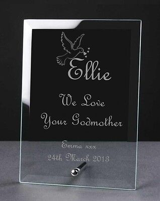 Engraved Personalised Glass Frame Plaque Birth Christening Naming Day Dove Gift