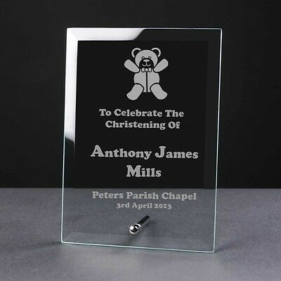 Engraved Personalised Glass Frame Plaque Birth Christening Gift teddy bear