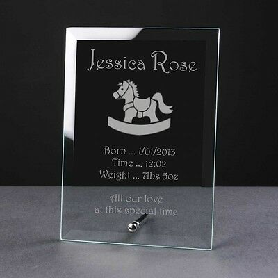 Engraved Personalised Glass Frame Plaque Birth Christening Gift Rocking Horse