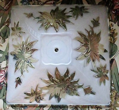 Gorgeous Clear & Frosted Glass Square Ceiling Light Shade/cover Flower Design