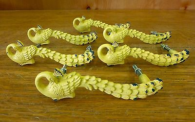 6 YELLOW PEACOCK BIRD DRAWER CABINET PULLS HANDLES KNOBS vintage chic hardware