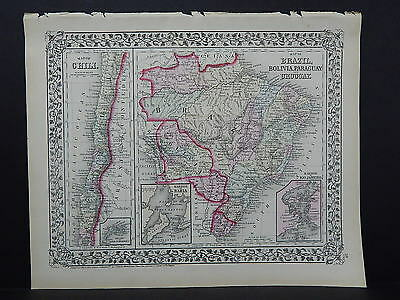 1874 Mitchell's New General Atlas  Chili Brazil Bolivia Paraguay Uruguay R7#23