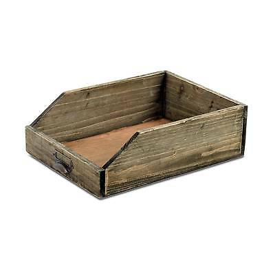 Wooden Office Paper Tray A4 Size Rustic Office Desk Organiser Label Holder