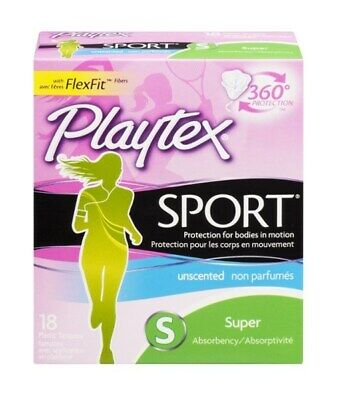 New Playtex Plastic Tampons Sport Unscented Super - 18 Ct
