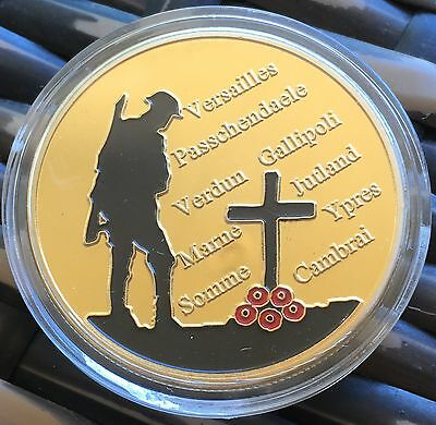 The Great War 1914 - 1918 Coin Finished In 24k Gold 1oz .999 Collectable Poppy
