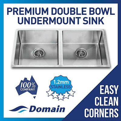 Domain Premium Handmade 304 Stainless Steel Undermount Double Bowl Sink 865