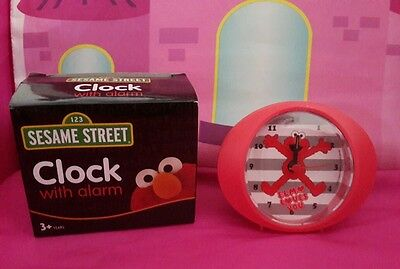 BNIB Sesame Street 123 Red Clock with Alarm Elmo Loves You Kids Room Decor
