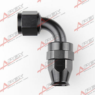 An6 6An An-6 90 Degree Reusable Swivel Ptfe Hose End Fitting Black