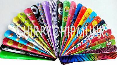 Bulk Lot x 30 Mixed Wrist Snap Slap Bands Kids Party Favor Novelty Toys NEW