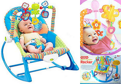 ibaby Rocker & Toddler Chair 0+ Months, max. 18kg Blue or Pink w/ Toys Music NEW
