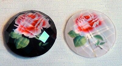 PACK OF 5 FACETED PINK ROSE CABOCHONS - 22mm - CHOOSE FROM WHITE OR BLACK *