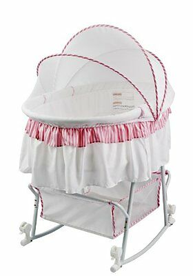 Dream On Me Lacy 2 in 1 BASSINET, Protable BABY BASSINET + CRADLE, Pink White