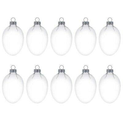"""2"""" Set of 10 Egg Shaped Clear Glass Ornaments"""