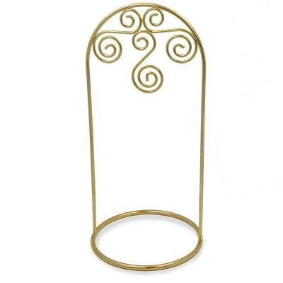 "7.75"" Gold Tone Metal Swirl Display Holder Ornament Stand"