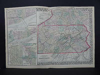 1874 Mitchell's New General Atlas, Double Page Pennsylvania R7#03