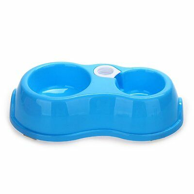 Pet Dog Cat Water Dispenser Food Dish Bowl Automatic Feeder Blue N3