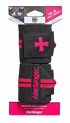 "Harbinger HumanX Pink Line 18"" Wrist Wraps Thumb Loop Weight Lifting One Pair"