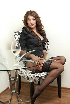 NEW Lace Top 20 Denier Sheer Hold-Ups Stockings 19 Various Colours Sizes M-XXXXL