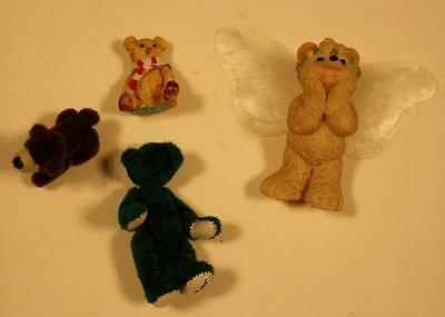 Set of 4 Miniature Bears-Angel-Scotland-Just Us- Grizzly- Great Collection 1980s