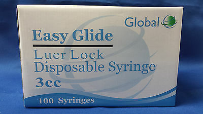 Easy Gllide 3cc LUER LOCK SYRINGES 3mL STERILE BOX OF 100 NEW!!  NO NEEDLE