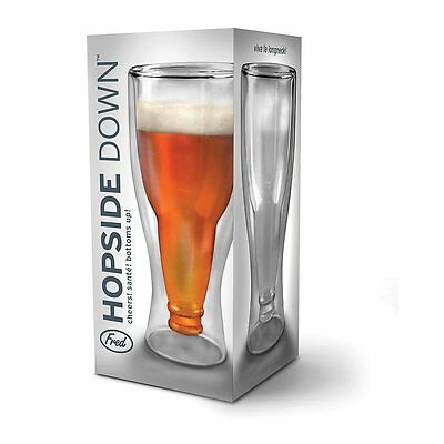 Hopside Upside Down Beer Bottle Shaped Glass By Fred Novelty Gift New