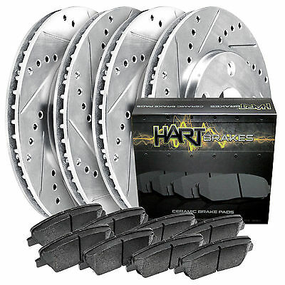 Fits 89-96 240SX Full Kit Hart Drilled Slotted Brake Rotors and Ceramic Pads