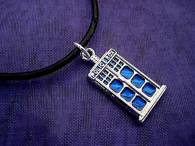 Tardis Police Box Dr Doctor Who ~ Pendant & Real Leather Black Necklace