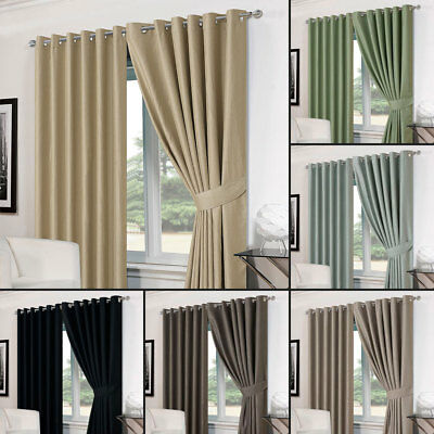 Dreamscene Pair of Textured Eyelet OR Pencil Pleat Thermal Curtains Ready Made