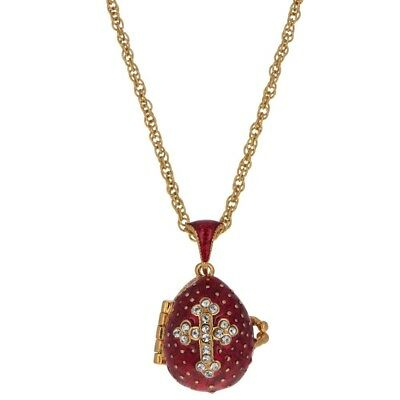 Red Enamel Crystal Cross with Heart Charm Egg Pendant Necklace 22""