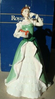 "Royal Doulton Lady Figurine ""merry Christmas, Hn3096, Mint Condition, Boxed."